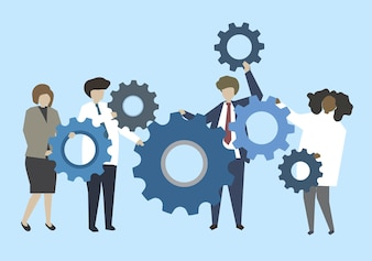 Pessoas negócio, conectando, com, engrenagens, ilustração