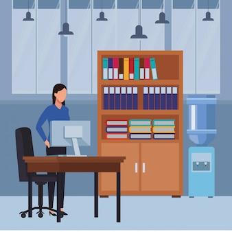 Pessoas negócio, e, escritório, elementos