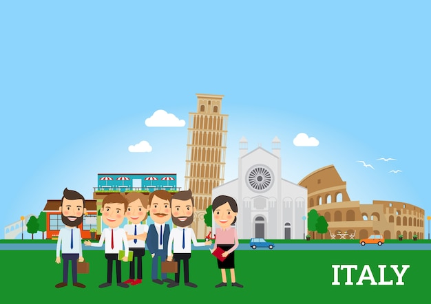 Pessoas negócio, em, itália
