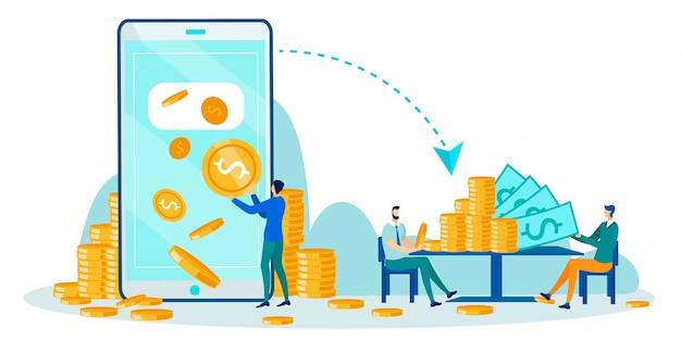 Pessoas negócio, recebendo, online, pagamentos, caricatura