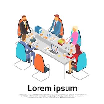 Pessoas negócio, reunião, discutir, escritório