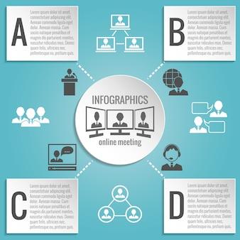 Pessoas negócio, reunião, infographics, modelo