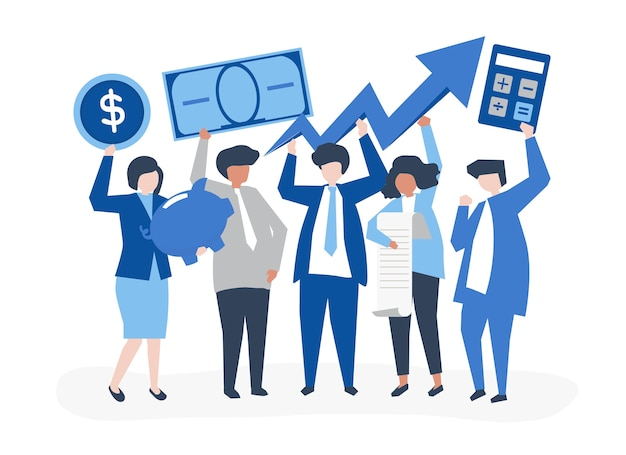 Pessoas negócio, segurando, crescimento financeiro, conceito