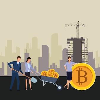 Pessoas negócio, segurando, cryptocurrency