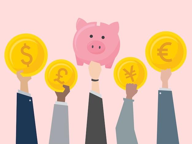 Pessoas negócio, segurando, moedas, ilustração