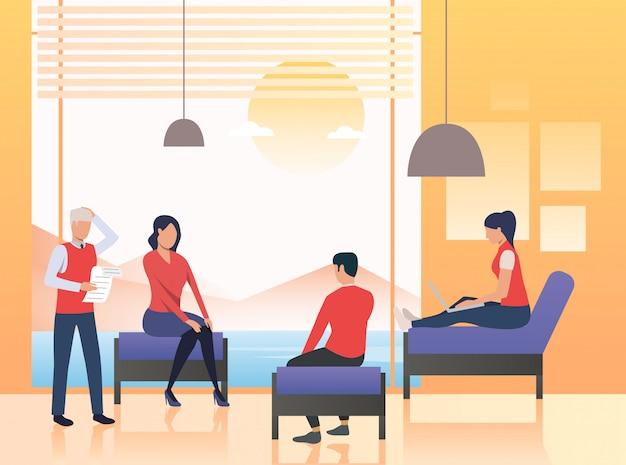 Pessoas negócio, sentando, em, lounge escritório