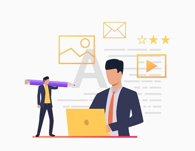 Pessoas negócio, trabalhando, com, documentos, em, escritório