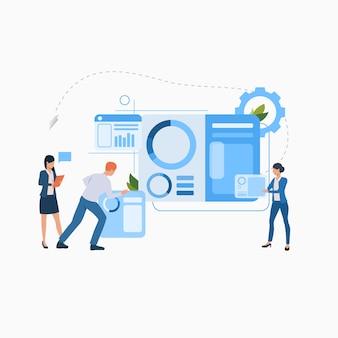 Pessoas negócio, trabalhando, ligado, projeto, apartamento, ícone