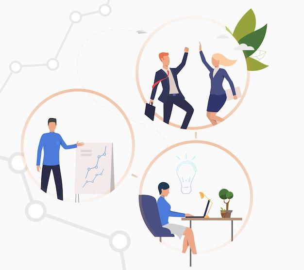 Pessoas negócio, trabalhando, ligado, projeto