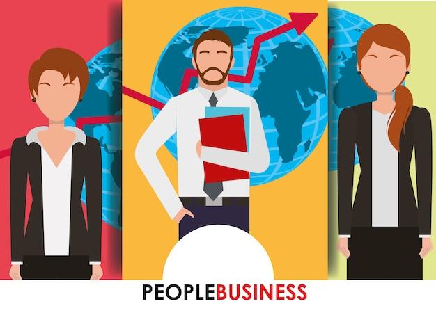 Pessoas negócios bandeira homem e mulheres mapa e seta financeira