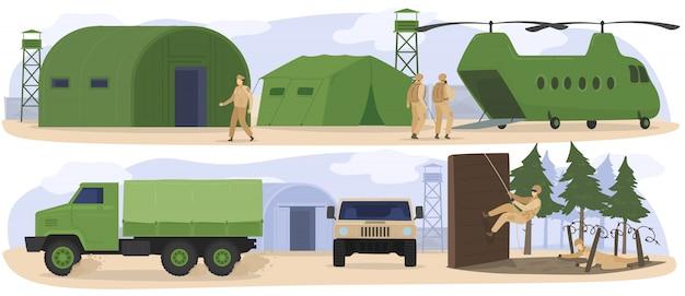 Pessoas no acampamento base militar, soldados treinando no exército, exercícios de boot camp, ilustração