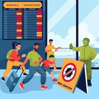 Pessoas no aeroporto fechado
