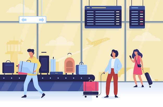 Pessoas no aeroporto. ideia de viagens e turismo. mala de viagem