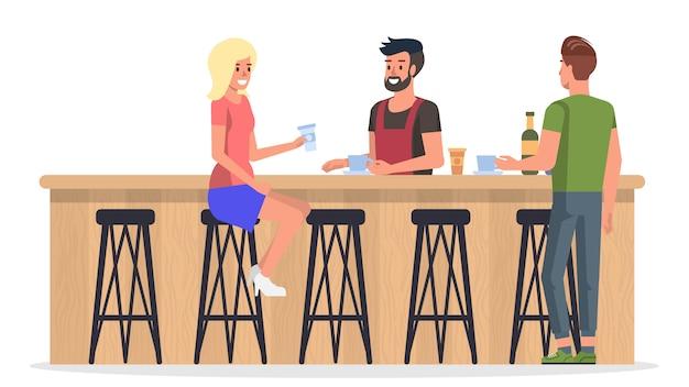 Pessoas no bar interior