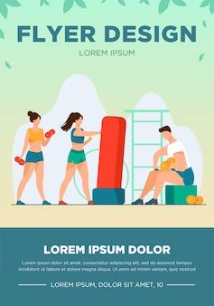 Pessoas no clube de fitness. homens e mulheres treinando corpos, levantamento de peso, alongamento de músculos na academia. ilustração vetorial para esporte, exercício, conceito de estilo de vida ativo