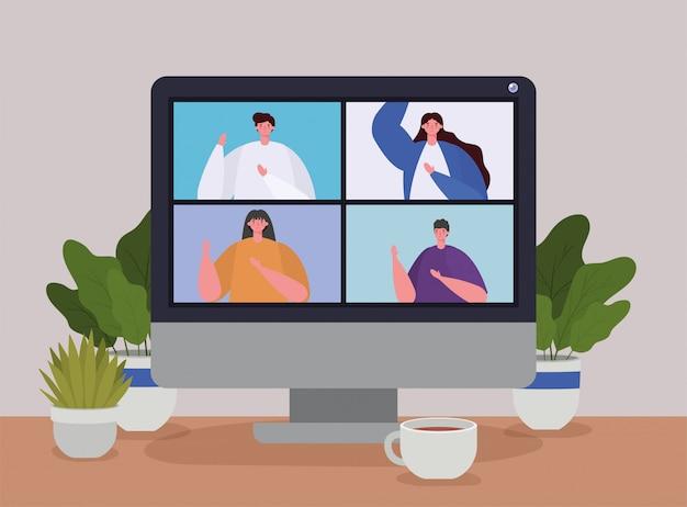 Pessoas no computador em videoconferência