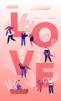 Pessoas no conceito de amor. casais felizes em relações, caminhando, se divertindo juntos, flutuando no barco, dando presentes um ao outro. ilustração plana dos desenhos animados