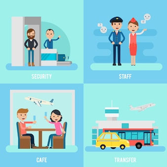 Pessoas no conceito de apartamento de aeroporto