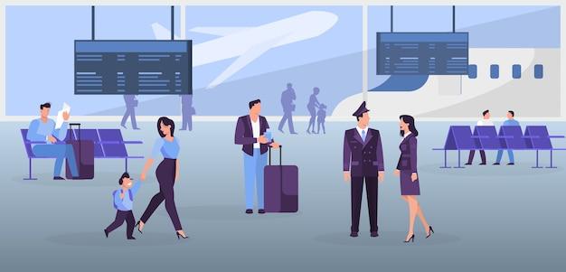 Pessoas no conceito de banner da web do aeroporto. ideia de viagem e férias. chegada de avião. ilustração