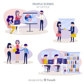 Pessoas no conjunto de cenas de escritório