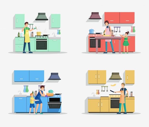 Pessoas no conjunto de ilustração de cozinha.