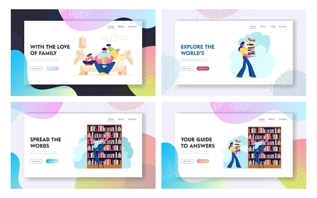 Pessoas no conjunto de páginas de destino da biblioteca, personagens lendo e pesquisando livros. educação, conhecimento, pesquisa de informação.