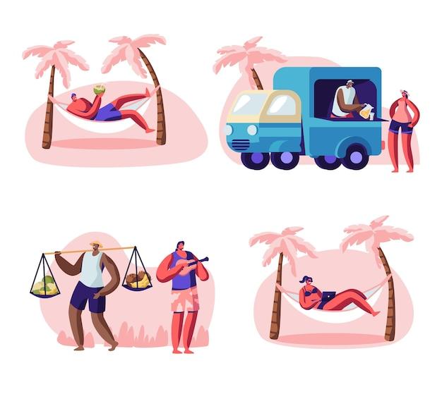 Pessoas no conjunto de praia da cidade. ilustração plana dos desenhos animados