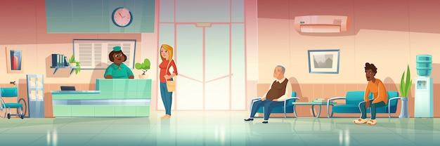 Pessoas no corredor do hospital, interior do salão da clínica com recepcionista na recepção
