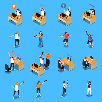 Pessoas no cyber sport isometric set