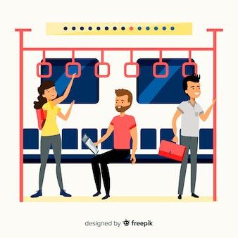 Pessoas no design plano do metrô