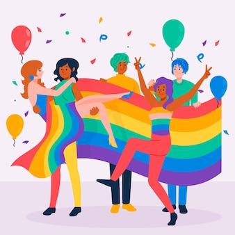 Pessoas no dia do orgulho comemorando design