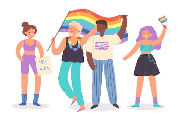Pessoas no dia do orgulho comemorando estilo