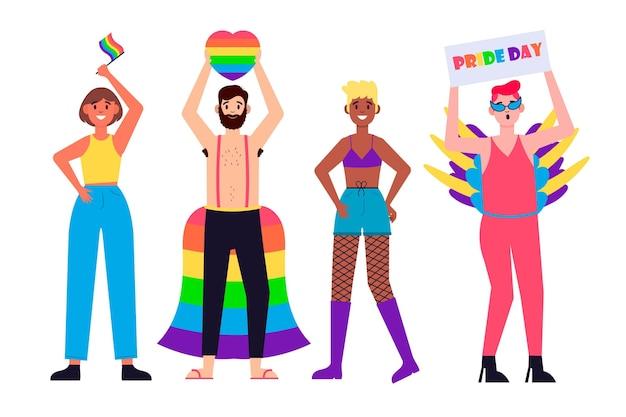 Pessoas no dia do orgulho comemorando o conceito