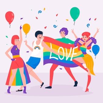 Pessoas no dia do orgulho comemorando o tema