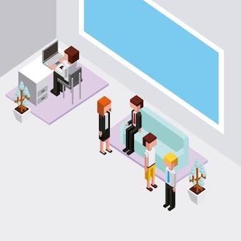 Pessoas no escritório trabalhando e esperando sentar no sofá