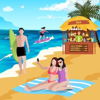 Pessoas no fundo da praia com personagens humanos sem rosto de surfistas de prancha em férias fazendo selfies com bar de praia