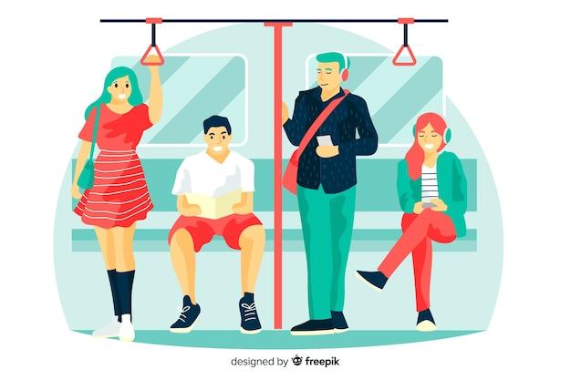 Pessoas no fundo do metrô