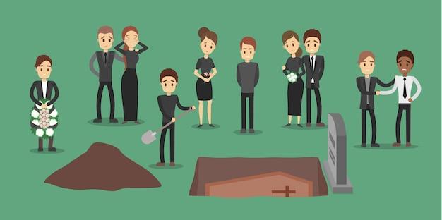 Pessoas no funeral. enterrando o caixão.