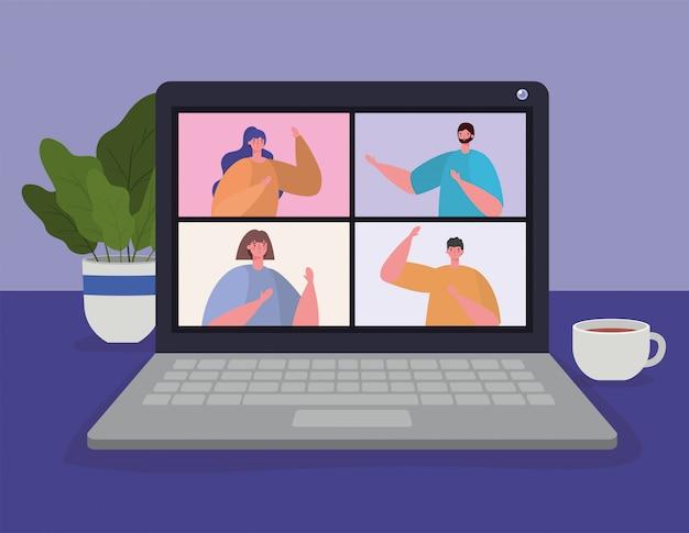 Pessoas no laptop em videoconferência