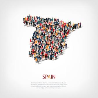 Pessoas no mapa do país espanha