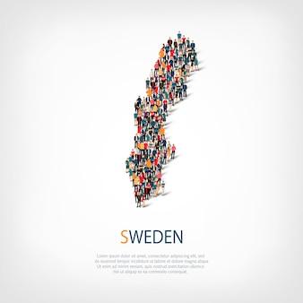 Pessoas no mapa do país suécia