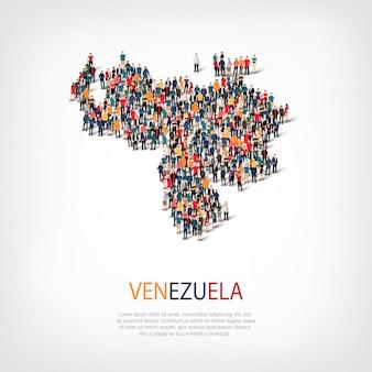 Pessoas no mapa do país, venezuela