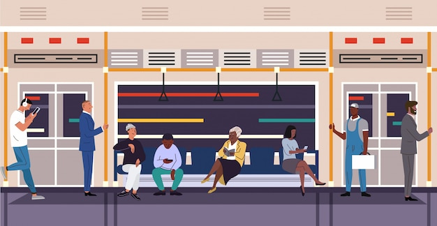 Pessoas no metrô trem personagens vetor plana