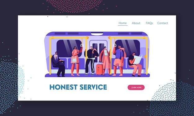 Pessoas no modelo de página de destino de site metro