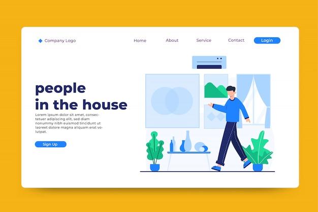 Pessoas no modelo de página de destino do conceito de casa