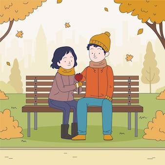 Pessoas no parque de outono