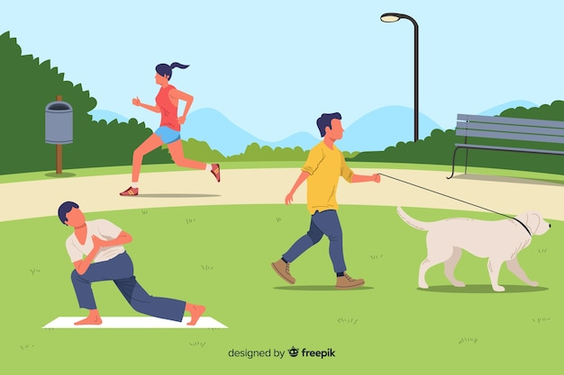 Pessoas no parque durante o seu tempo livre