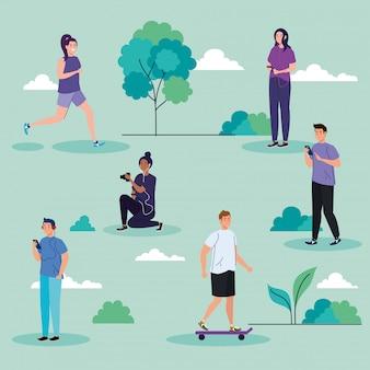 Pessoas no parque, executando atividades de lazer ao ar livre ilustração design