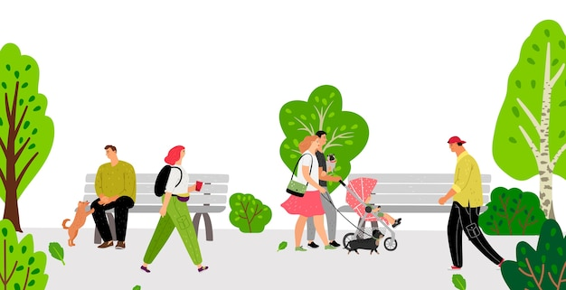 Pessoas no parque. família, homens, mulheres, crianças e animais de estimação no parque. ilustração em vetor diferentes personagens de desenhos animados plana
