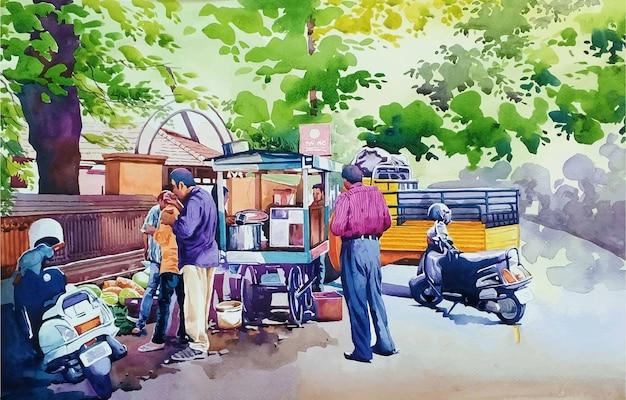Pessoas no parque mão ilustrações desenhadas